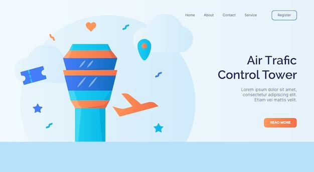 Kampania ikona wieży kontroli ruchu lotniczego dla strony głównej strony głównej witryny internetowej baner do lądowania z płaskim stylem kreskówki