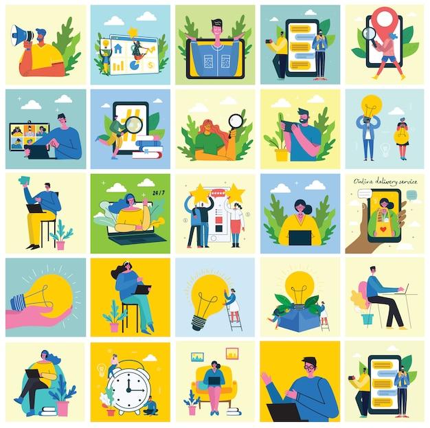 Kampania marketingowa, wideokonferencja, ilustracja koncepcja analizy biznesowej w nowoczesnym mieszkaniu i czysty projekt.