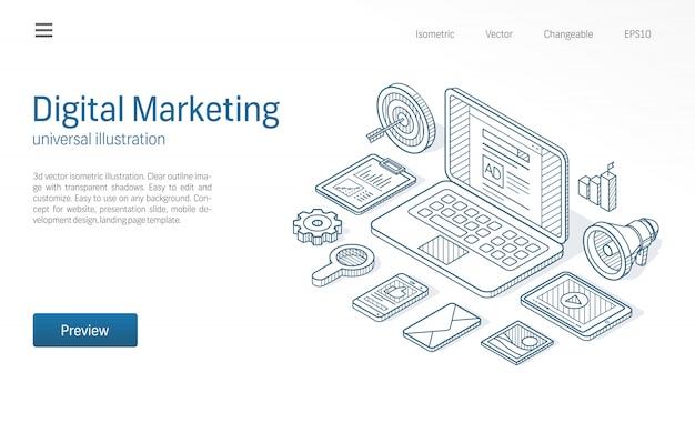 Kampania marketingu cyfrowego, optymalizacja seo, nowoczesna ilustracja izometryczna. ikona ciągnione szkic firmy. rozwój sieci, koncepcja mediów społecznościowych.