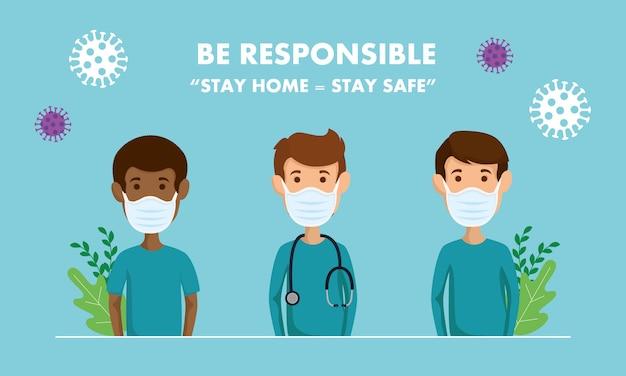 Kampania odpowiedzialnego pozostawania w domu z ratownikami medycznymi za pomocą maski na twarz