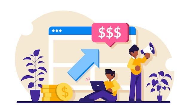 Kampania ppc. ilustracja pay per click. mężczyzna z laptopem i głośnikiem reklamuje produkt lub obsługę klienta.