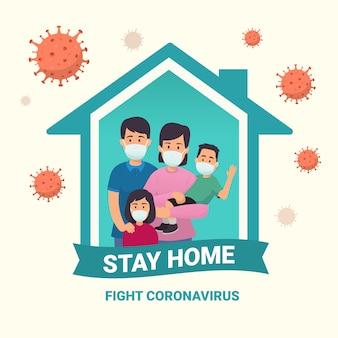 Kampania przeciwko wirusowi korony covid-19, aby zostać w domu. styl życia, który możesz wykonywać w domu, aby zachować zdrowie. jedna rodzina używa masek na twarz. zwalczać wirusy rogówkowe. płaska konstrukcja