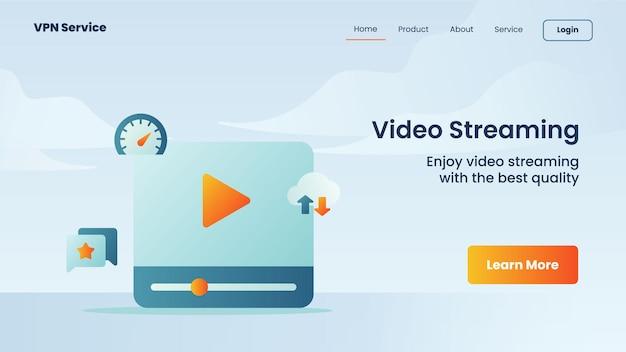 Kampania strumieniowego przesyłania wideo dla szablonu banera strony głównej strony głównej witryny internetowej