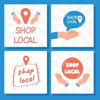 Kampania w lokalnym sklepie z napisami i zestawem ikon ilustracji