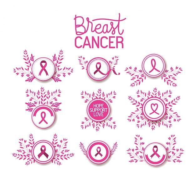 Kampania wstążkowa świadomości raka piersi ustawić ikony