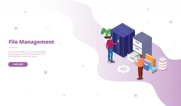 Kampania zarządzania plikami dla strony głównej strony internetowej szablonu strony docelowej z izometrycznym stylem mieszkania