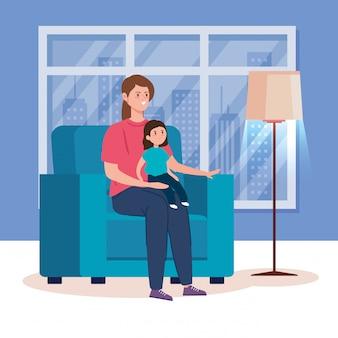 Kampania zostaje w domu z mamą i córką w salonie