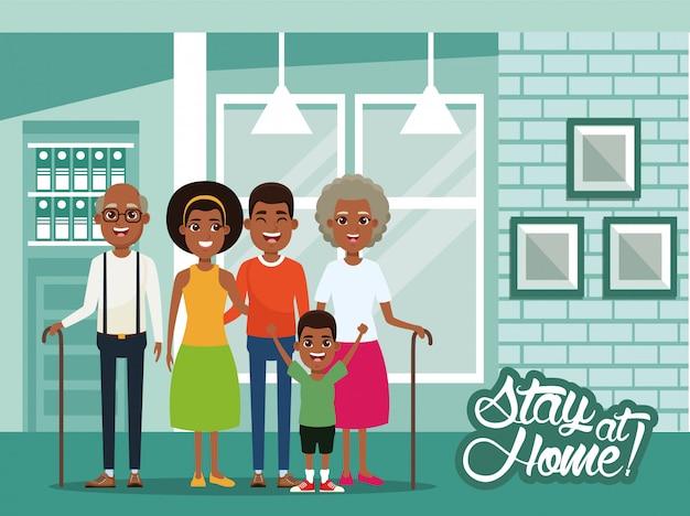 """Kampania """"zostań W Domu"""" Z Członkami Rodziny Afro Premium Wektorów"""