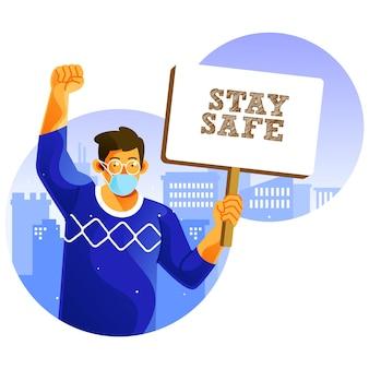 Kampanie zachowaj bezpieczeństwo podczas pandemii ilustracja