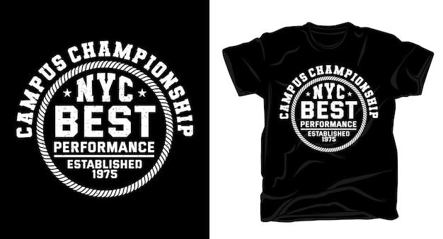 Kampusowa typografia uniwerek mistrzostw do projektowania t-shirtów