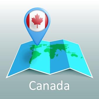 Kanada. flaga. ameryka północna. mapa świata.