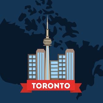 Kanada toronto miasto na mapie kraju niebieskim tle