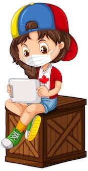 Kanadyjska dziewczyna kreskówka noszenie maski