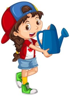 Kanadyjska dziewczyna trzyma niebieską konewkę