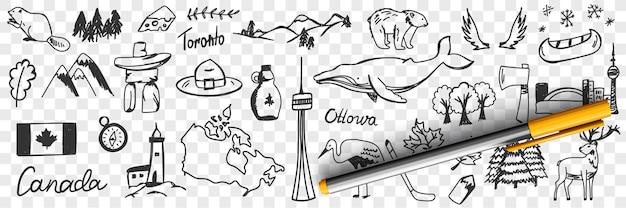 Kanadyjskie symbole i znaki doodle zestaw ilustracji