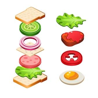 Kanapka składniki jedzenie