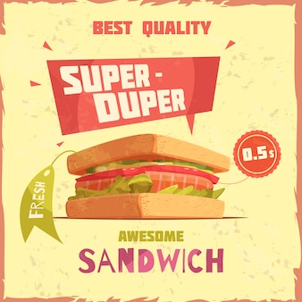 Kanapka super duper najlepszej jakości z plakatem promocyjnym z ceną i tagiem na teksturowanym tle