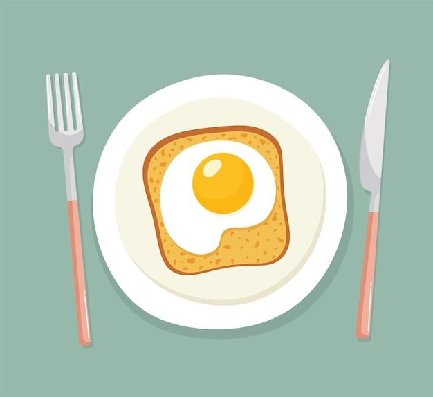 Kanapka z kromką chleba i jajkiem sadzonym na talerzu