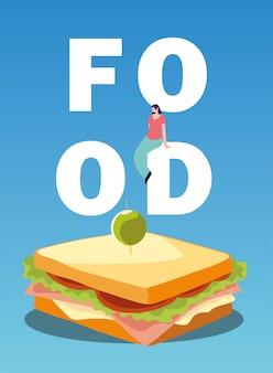 Kanapka z oliwą i człowiekiem na ilustracji wektorowych napis żywności