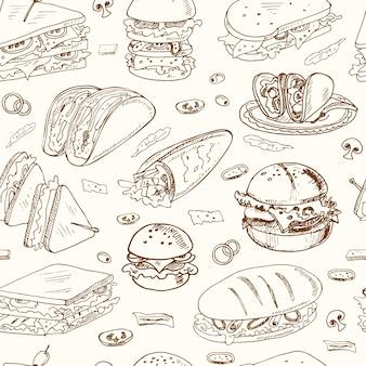 Kanapki bez szwu wzór kanapka klubowa cheeseburger hamburger delikatesy wrap roll taco bagietka bagel toast.