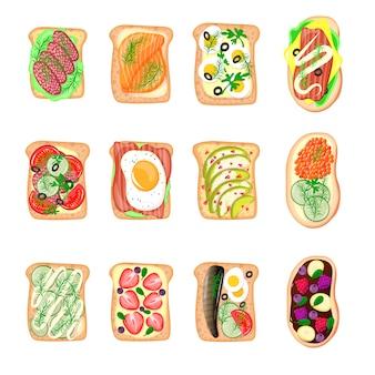 Kanapki śniadanie tosty zestaw chleb kromki tosty skorupa kanapka z masłem smażone płaskie kreskówka kanapka mięso, ryby, jajka i masła ilustracji