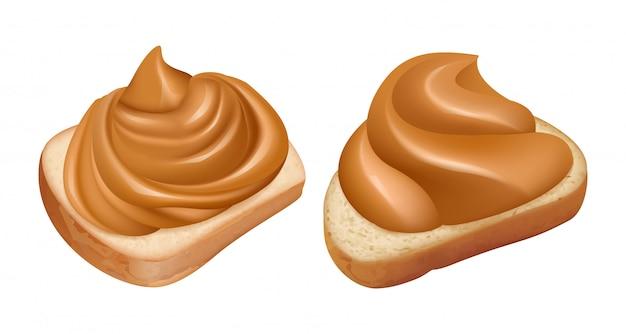 Kanapki z masłem orzechowym. realistyczne wirowanie masła orzechowego na chlebie