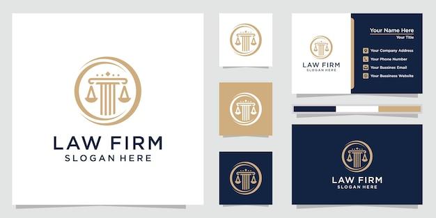 Kancelaria prawna, adwokat, logo w stylu linii filarów i elegancji z szablonem wizytówki. premia