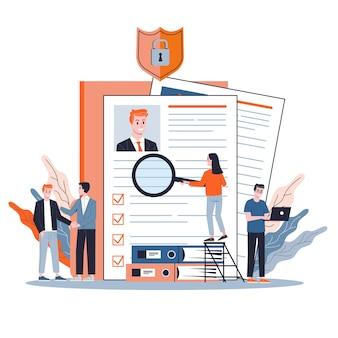 Kandydat do pracy. idea zatrudnienia i rozmowa kwalifikacyjna. wyszukiwanie menedżera rekrutacji. baner internetowy. ilustracja