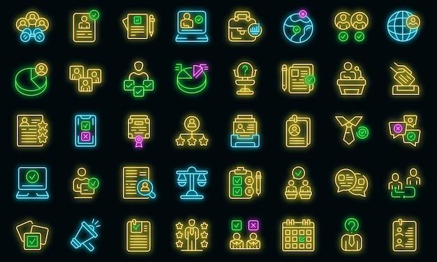Kandydat ikony ustaw wektor neon