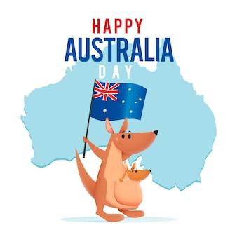 Kangur z dzieckiem w torbie trzyma australijską flagę