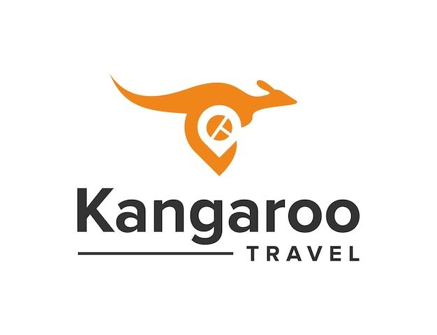 Kangur z lokalizacją pinezki podróżuje prosty, elegancki, kreatywny, geometryczny, nowoczesny projekt logo