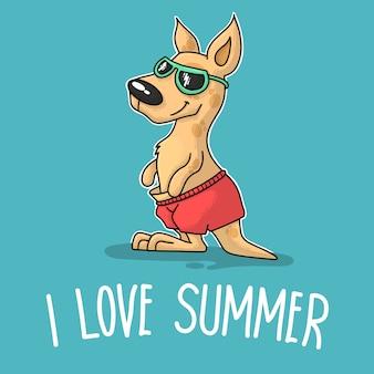 Kangur z okularami przeciwsłonecznymi mówiącymi, że kocham lato
