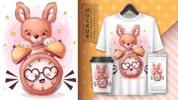 Kangur z plakatem z zegarem i merchandisingiem
