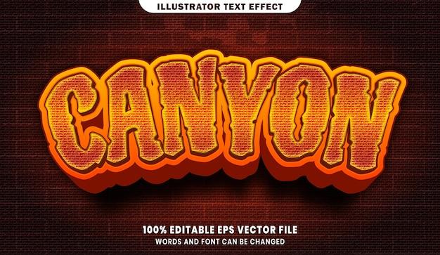 Kanion 3d efekt edytowalnego stylu tekstu