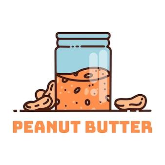 Kanister z masłem orzechowym. śliczna kreskówki masła orzechowego wektoru ilustracja.