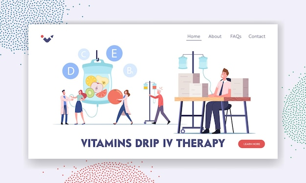 Kapanie witamin, szablon strony docelowej terapii dożylnej. postacie stosujące dożylną infuzję naturalnych składników odżywczych za pomocą zakraplaczy w szpitalu z pomocą lekarza. ilustracja wektorowa kreskówka ludzie
