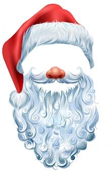 Kapelusz, broda i czerwona maska na nos świętego mikołaja. świąteczne akcesoria