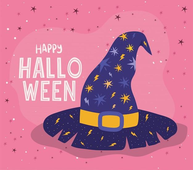 Kapelusz czarownicy halloween z gwiazdami, motywem świątecznym i przerażającym