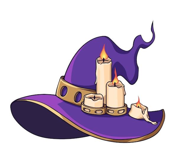 Kapelusz czarownicy ze świecami na białym tle