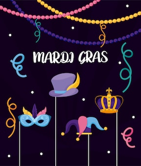 Kapelusz i korona mardi gras karnawałowa maska