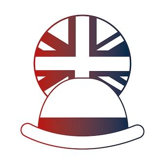 Kapelusz melonik elegancja angielski flaga przycisk ilustracji wektorowych