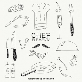 Kapelusz szefa kuchni i inne elementy w stylu ręcznie rysowanym