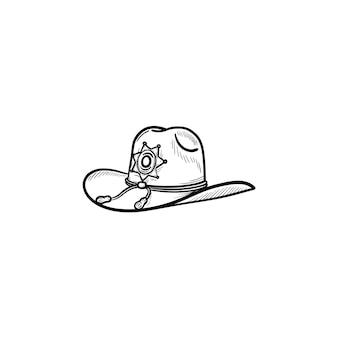 Kapelusz szeryfa ręcznie rysowane konspektu doodle ikona. organ policji, szeryf hrabstwa, koncepcja zasilania. szkic ilustracji wektorowych do druku, sieci web, mobile i infografiki na białym tle