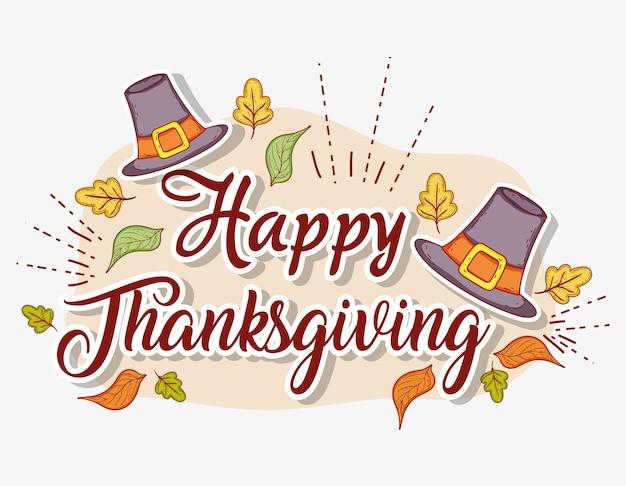 Kapelusze akcesoria i liście do świętowania dziękczynienia