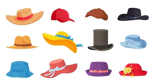 Kapelusze z kreskówek. damskie i męskie nakrycia głowy, derby i kowboje, słomkowy kapelusz, czapka, panama i cylinder. letnie kobiety moda vintage kapelusze wektor zestaw. ilustracja kobiece i męskie akcesoria ca lub kapelusz
