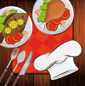 Kapeluszowy szef kuchni z wyśmienicie jedzeniem w drewnianym stole
