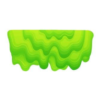Kapiąca masa zielonego szlamu, kreskówka kropelka warstwowej gęstej galaretki o płynnej lepkiej konsystencji, gruboziarnisty śluz lub trujący symbol farby - izolowane płaskie