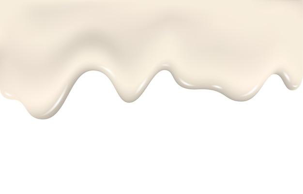 Kapiąca śmietanka mleczna, płynąca ciecz, tekstura jogurtu.