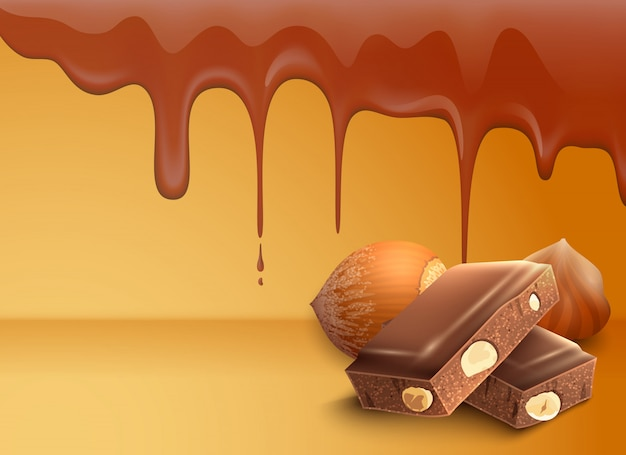 Kapiąca topiąca czekolada opuszcza tło z orzechami laskowymi