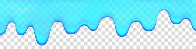 Kapiąca woda na przezroczystym tle. niebieska farba. szlam. kroplówki realistyczne tło wektor.